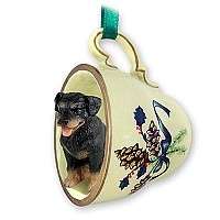 Rottweiler Tea Cup Green Holiday Ornament