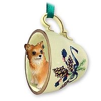 Chihuahua Longhaired Tea Cup Green Holiday Ornament