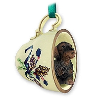 Wire Haired Dachshund Red Tea Cup Green Holiday Ornament