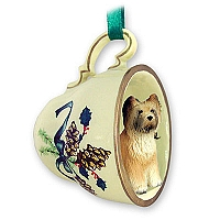 Briard Tea Cup Green Holiday Ornament
