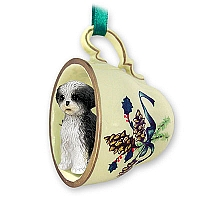 Shih Tzu Black & White w/Sport Cut Tea Cup Green Holiday Ornament