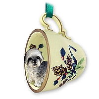 Lhasa Apso Gray w/Sport Cut Tea Cup Green Holiday Ornament