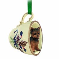 Yorkshire Terrier Puppy Cut Tea Cup Green Holiday Ornament