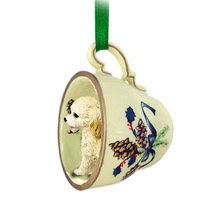 Cockapoo Blond Tea Cup Green Ornament