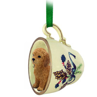 Goldendoodle Tea Cup Green Ornament
