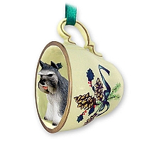 Schnauzer Gray Tea Cup Green Holiday Ornament