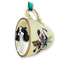 Cocker Spaniel Black & White Tea Cup Green Holiday Ornament