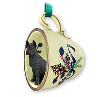 Great Dane Black Tea Cup Green Holiday Ornament