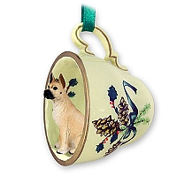 Great Dane Fawn Tea Cup Green Holiday Ornament