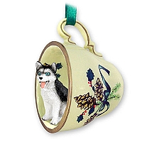 Husky Black & White w/Blue Eyes Tea Cup Green Holiday Ornament