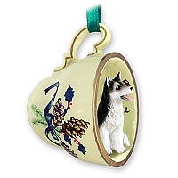 Husky Black & White w/Brown Eyes Tea Cup Green Holiday Ornament