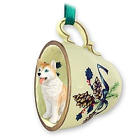 Husky Red & White w/Blue Eyes Tea Cup Green Holiday Ornament