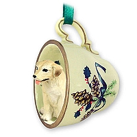 Labrador Retriever Yellow Tea Cup Green Holiday Ornament