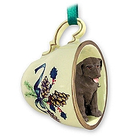 Labrador Retriever Chocolate Tea Cup Green Holiday Ornament