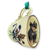 Doberman Pinscher Black w/Cropped Ears Tea Cup Green Holiday Ornament