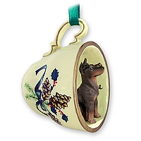 Doberman Pinscher Red w/Cropped Tea Cup Green Holiday Ornament