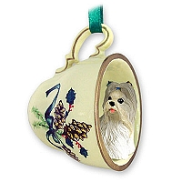Shih Tzu Mixed Tea Cup Green Holiday Ornament