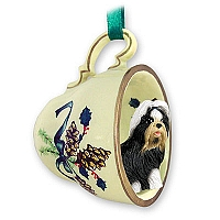 Shih Tzu Black & White Tea Cup Green Holiday Ornament