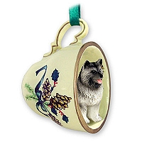 Keeshond Tea Cup Green Holiday Ornament