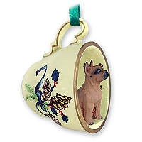 Boxer Tawny Tea Cup Green Holiday Ornament