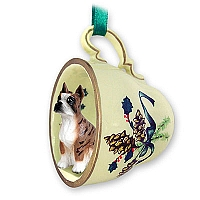 Boxer Brindle Tea Cup Green Holiday Ornament