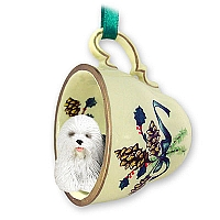 Old English Sheepdog Tea Cup Green Holiday Ornament