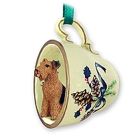 Airedale Tea Cup Green Holiday Ornament