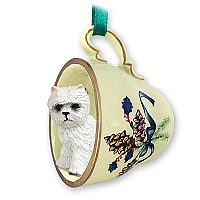 West Highland Terrier Tea Cup Green Holiday Ornament
