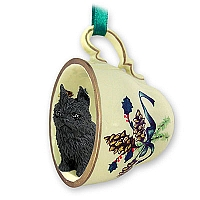 Brussels Griffon Black Tea Cup Green Holiday Ornament