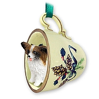 Papillon Brown & White Tea Cup Green Holiday Ornament