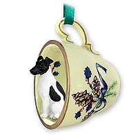 Fox Terrier Black & White Tea Cup Green Holiday Ornament