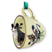 Welsh Corgi Cardigan Tea Cup Green Holiday Ornament