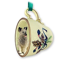 Norwegian Elkhound Tea Cup Green Holiday Ornament