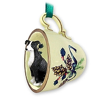 Greyhound Black & White Tea Cup Green Holiday Ornament
