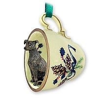 Greyhound Brindle Tea Cup Green Holiday Ornament