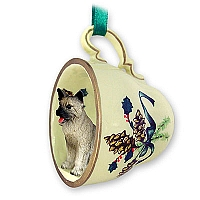 Akita Gray Tea Cup Green Holiday Ornament