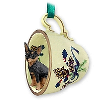 Miniature Pinscher Tan & Black Tea Cup Green Holiday Ornament