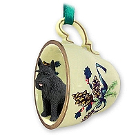 Schnauzer Giant Black Tea Cup Green Holiday Ornament
