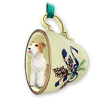 Wire Fox Terrier Red Tea Cup Green Holiday Ornament