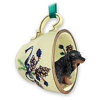 Dachshund Longhaired Black Tea Cup Green Holiday Ornament