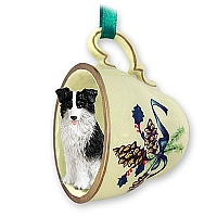 Border Collie Tea Cup Green Holiday Ornament