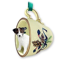 Jack Russell Terrier Brown & White w/Rough Coat Tea Cup Green Holiday Ornament