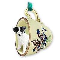 Jack Russell Terrier Black & White w/Rough Coat Tea Cup Green Holiday Ornament