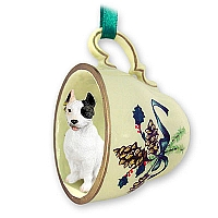 Pit Bull Terrier White Tea Cup Green Holiday Ornament