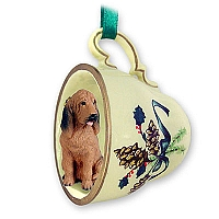 Bloodhound Tea Cup Green Holiday Ornament