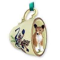 Basenji Tea Cup Green Holiday Ornament