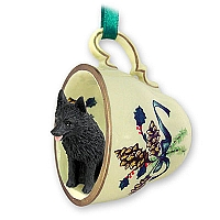 Schipperke Tea Cup Green Holiday Ornament