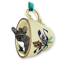 French Bulldog Tea Cup Green Holiday Ornament