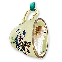 Borzoi Tea Cup Green Holiday Ornament