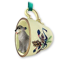 Irish Wolfhound Tea Cup Green Holiday Ornament